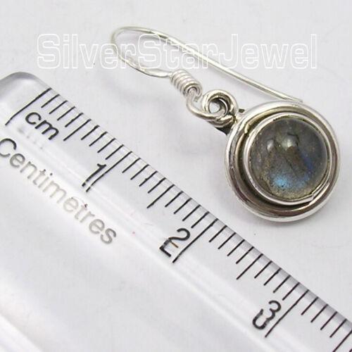 Blue CAB Labradorite 2.8 TCW Boucles d/'oreilles 2.7 cm 3.5 g solid sterling silver