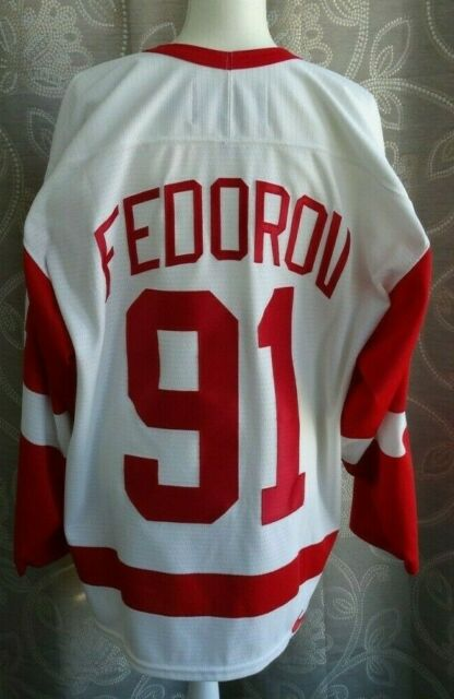 Vintage Nike Sergei Fedorov Detroit Red Wings White NHL Hockey Jersey SZ=52 (L)