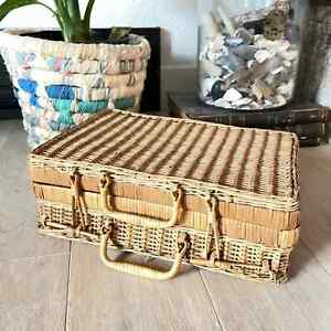 Vintage French Rattan Wicker Suitcase/Picnic/ Vintage home decor