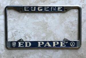 ed pape volkswagen porsche vw dealer eugene  original license plate frame ebay