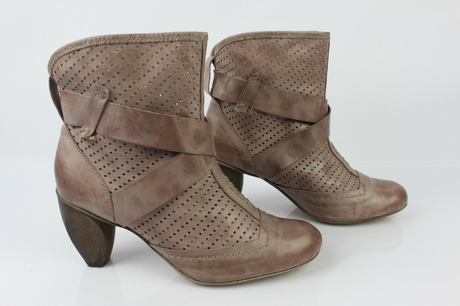 Boots Booties Virus Leather Taupe Clear T 37 Very Good Condition