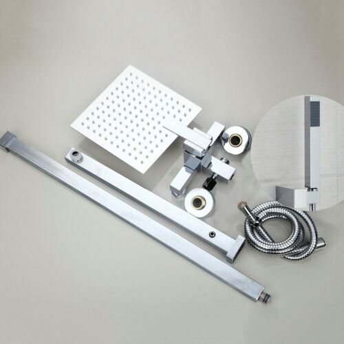 "8/"" Square Rainfall Shower Faucet Set with Handspray Mixer Valve Tub Tap Chrome"