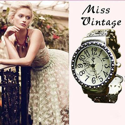 Lady Girl Hollow Wrap Bangle Bracelet Vintage Quartz Big Dial Wrist Watch ay