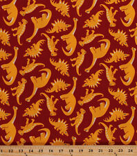 Cotton Dinosaurs Dino Reptile Kids Children's Toyland Red Fabric BTY D677.22
