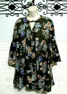 Umgee-Tunic-Top-Size-M-3-4-Sleeve-Multicolored-Floral-Women-039-s