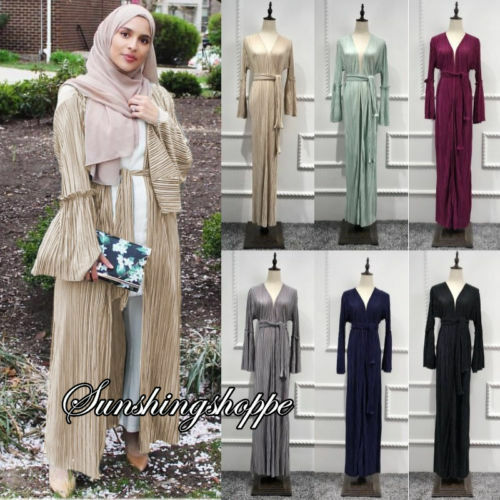 Fashion Pleated Dubai Cardigan Coat Women Muslim Open Front Abaya Kaftan Dress