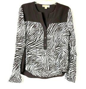 ac7a339ff643 Michael Kors Women s Zebra Print Top Sz L Long Sleeve Brown White ...