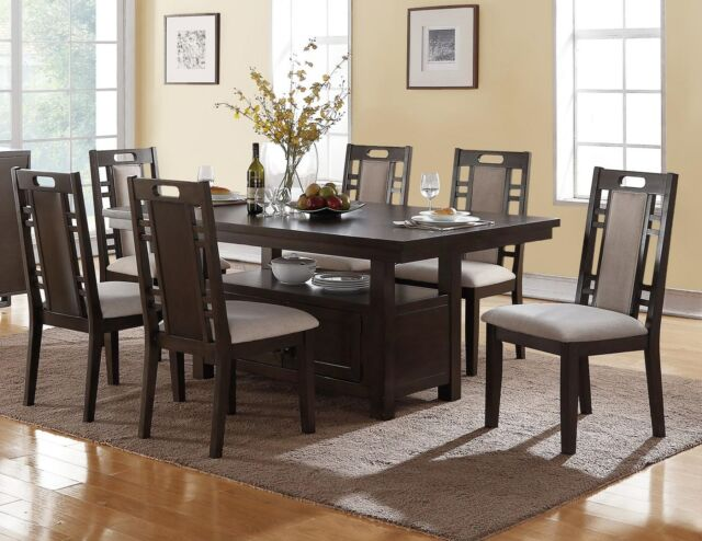 Transitional Camden 7pc Charcoal Gray Wood Dining Table Set W Storage Cabinet
