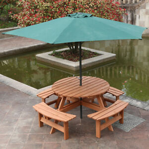 Round Wooden Garden Table & 4 Bench Seat Chairs Outdoor Patio Furniture UK | EBay