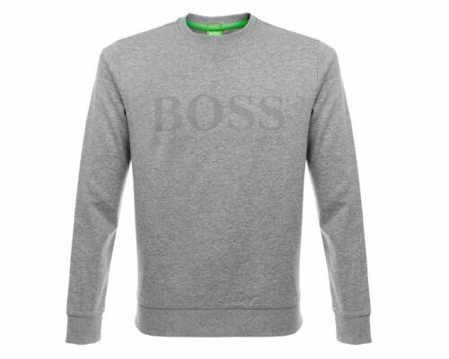 Mens Hugo Boss Salbo Round Neck Sweatshirt Grey Emboss Top