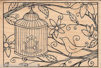 Outlines Rubber Stamp P50579-k Bird Birdhouse And Flowers, S7