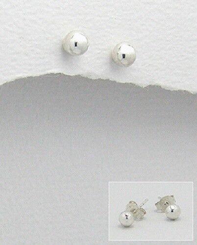 Señoras plata esterlina 925 joyas Llano Bola Arito 2mm 4mm 6-10mm 12mm