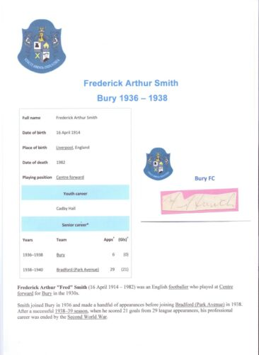 FRED SMITH BURY 19361938 RARE ORIGINAL HAND SIGNED CUTTINGCARD