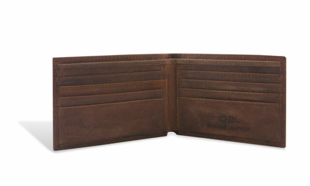 Brown NCAA Georgia Bulldogs Zep-Pro Pull-Up Leather Trifold Embossed Wallet