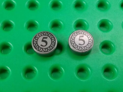 *NEW* Lego $5 Silver Coins Small Cash 1x1 Stud Minifigs Figs Figures 2 pieces
