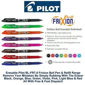 Blue Pack of 12 Pilot Frixion Rollerball Erasable Pens 0.7mm Line BL-FR7