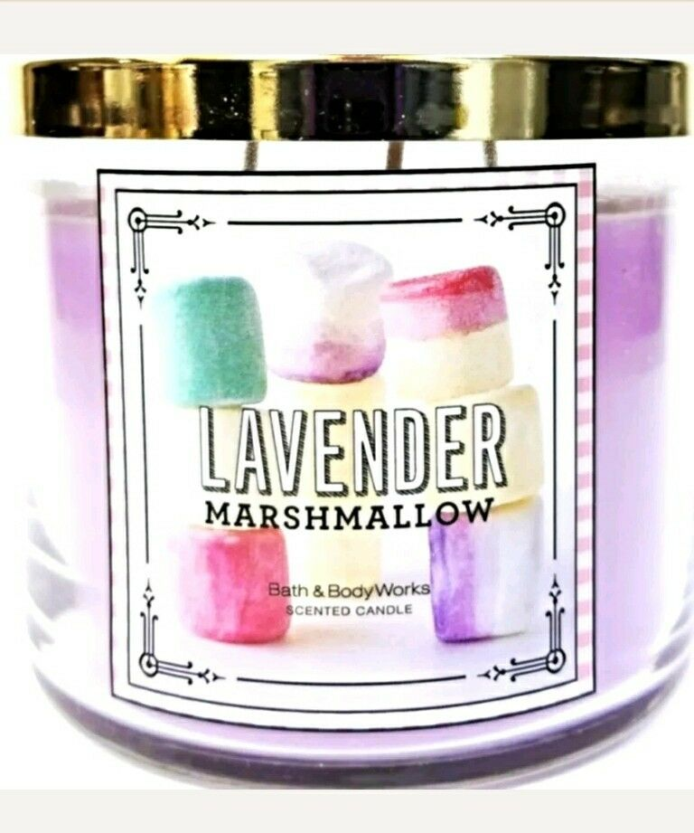 Bath & Body Works LAVENDER MARSHMALLOW 3 Wick Candle Smooth Scent, Creamy, Purpl