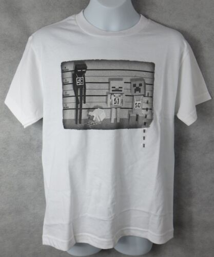 Minecraft Boys T-Shirt Line Up White Officially Licensed Jinx Mojang