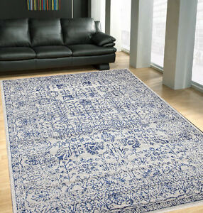 Moroccan Cream Blue Modern Floor Rug
