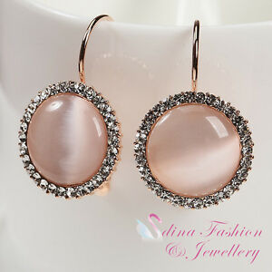 18K-Rose-Gold-Plated-Simulated-Opal-Popular-Large-Round-Small-Hoop-Earrings
