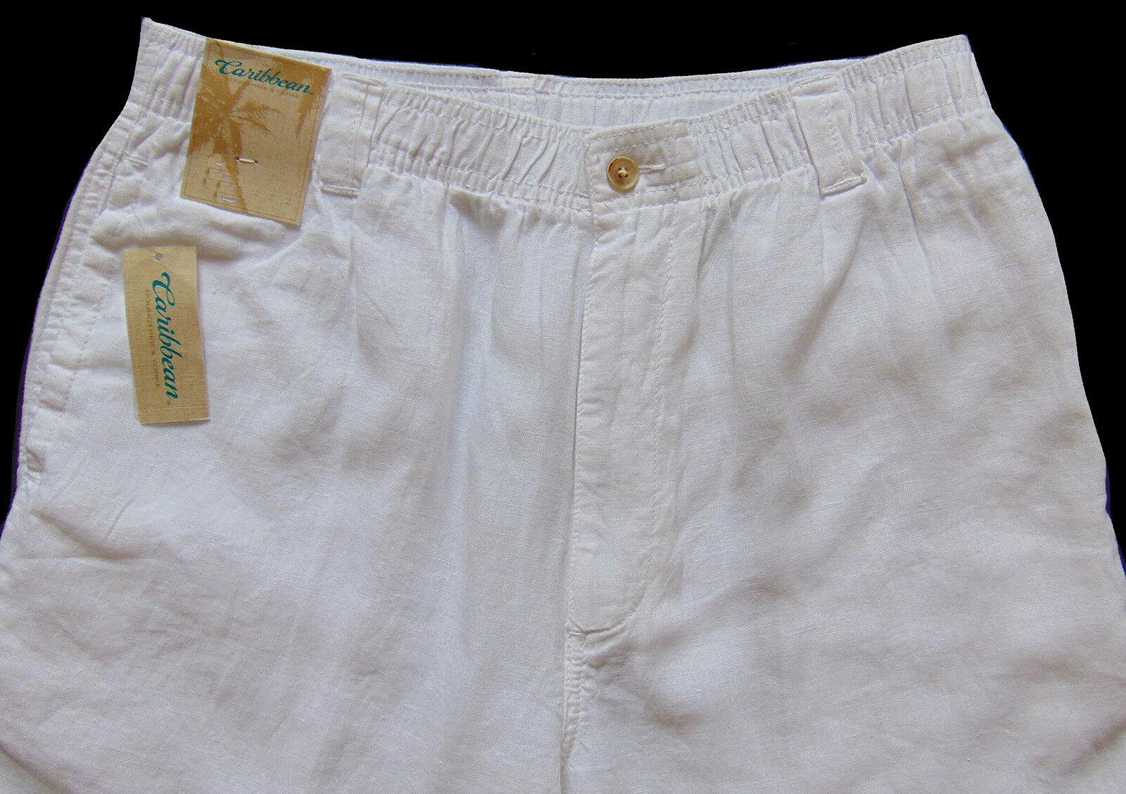 Men's CARIBBEAN White Pure LINEN Drawstring Pants 32x30 NWT Elastic Waist Nice