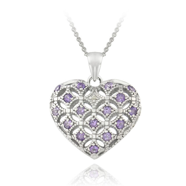 18 to 24 US Jewels And Gems 1in 0.925 Sterling Silver 2 Photo Heart Locket with Diamond Accent Pendant Necklace