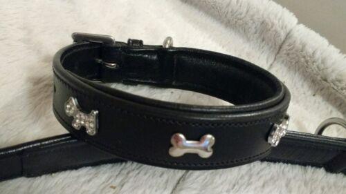 Calidad De Cuero Acolchado Diamante Plata Doble hueso para perro Collar Negro Pequeño