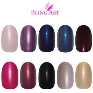 Bling-Art-Oval-False-Nails-Black-Red-Blue-Pink-Purple-Glitter-Fake-Medium-Tips