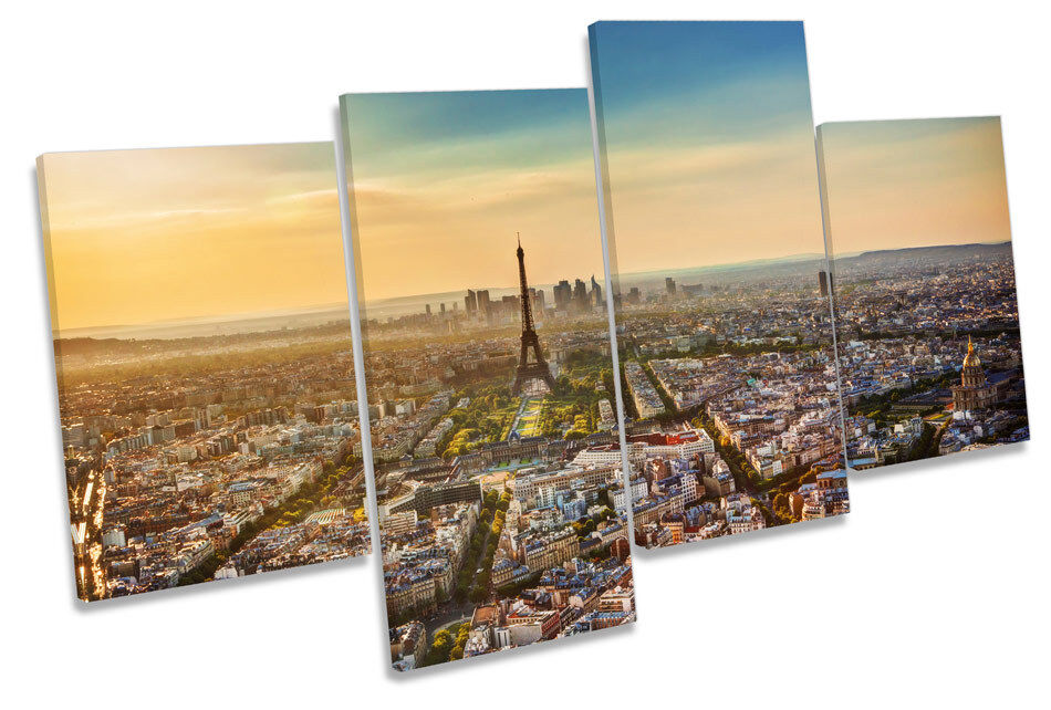 Eiffel Tower Sunset Paris City MULTI CANVAS WALL ART Boxed Framed
