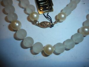 HOBE-7mm-Majorca-Pearl-Frosted-Crystal-necklace-choker-Vintage-unused-mint