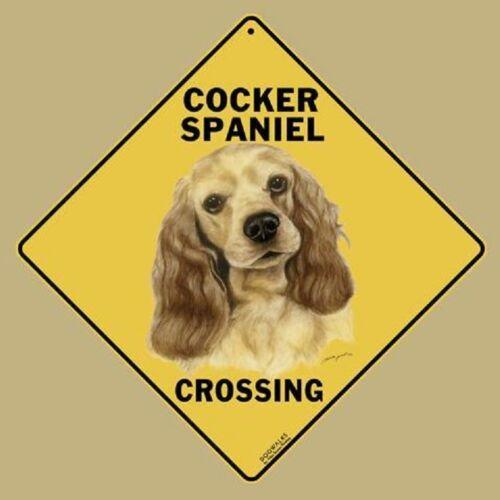 "Cocker Spaniel Dog Metal Crossing Sign 16 1//2/"" x 16 1//2/"" Diamond shape"