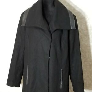cd0668486f8ae NEW Lane Bryant Plus Size 22 24 Black Wool Blend Coat Faux Leather ...