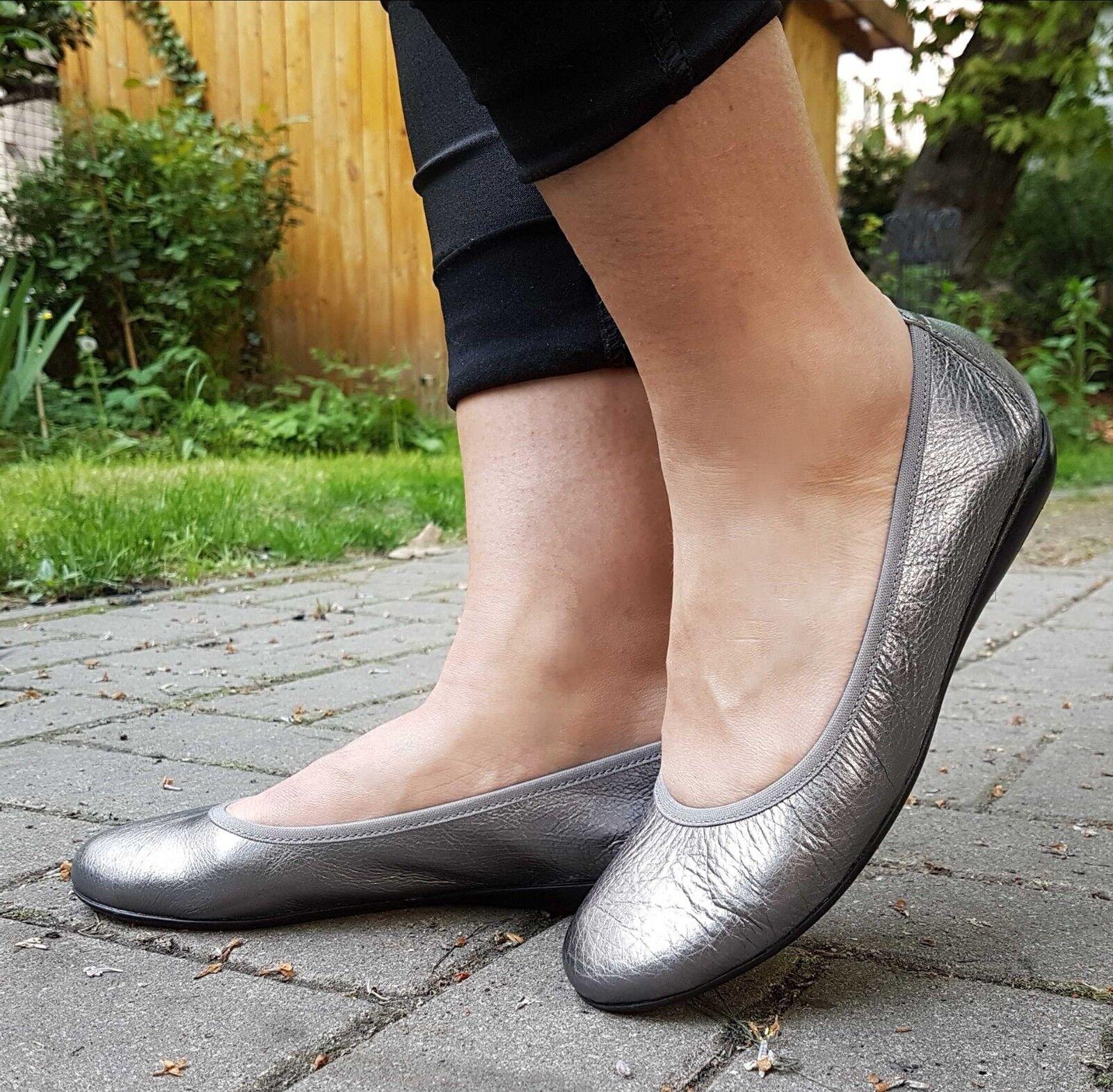 Wonders Ballerina  SILBER A-6130 Echtleder Schuh Damen Sommer Spanien NEU
