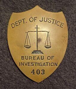 Brass-1930s-RKO-movie-prop-badge-FBI-G-Men-Bureau-of-Investigation-DOJ