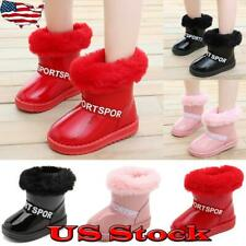 Kids Ankle Boots Snow Plush Booties Girls Boys Waterproof Shoes Winter Warm US