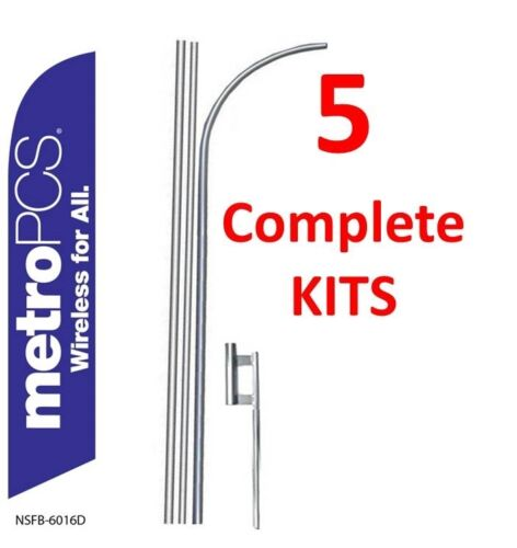 5 METRO PCS WIRELESS purple//wh 15/' SWOOPER #3 FEATHER FLAGS KIT five