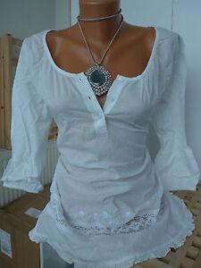 Luxus klare Textur Wählen Sie für neueste Details zu Cheer Tunika Bluse mit Spitze und Stickerei Gr. 36 - 46 Weiß  (654) NEU