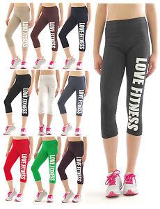 Capri-3-4-Leggings-LOVE-fitness-scritte-stampa-cotone-corti-sport-pantaloni