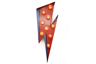 LIGHTNING BOLT Red LED light bulb Carnival Sign Wall art Comic Super Hero Flash