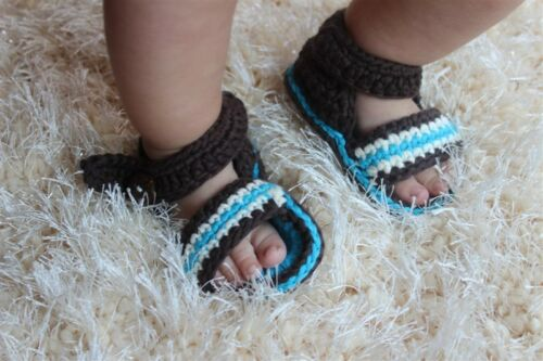 New Handmade Knit Crochet Baby Barefoot Sandals Shoes Foot Jewerly Brown Blue