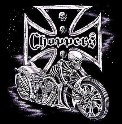 CHOPPER SKULL IRON CROSS BIKER RIDER CHEST LOGO T SHIRT BLACK OR GRAY M TO 6XL