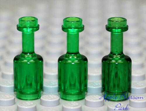 Kingdoms Castle Food Rum Jug NEW Lego Lot//3 Minifig Trans Green WINE BOTTLES