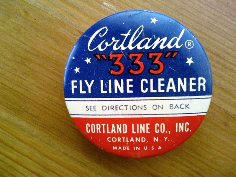 Old Cortland  333  Fly Line Cleaner Tin unused with pad Cortland NY