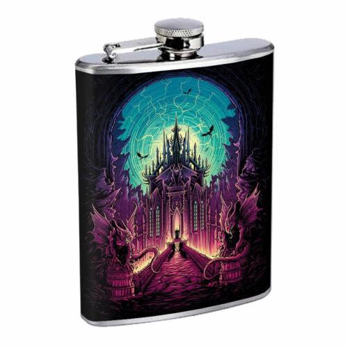 Gargoyle Castle Demon Dark Em1 Flask 8oz Stainless Steel Hip Drinking Whiskey