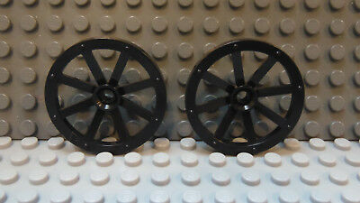 LEGO Pair of Small 27mm Wagon Cart Black Wheels