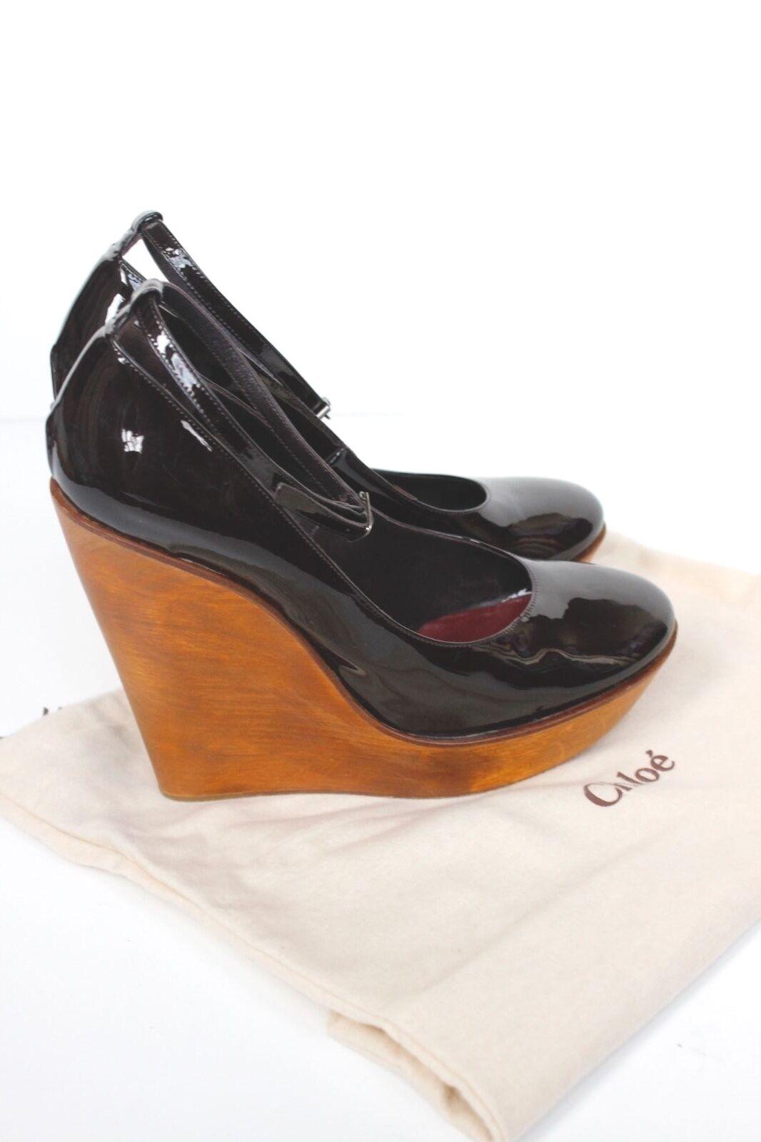 CHLOé Wooden Platform Patent Leder Mary Jane Wedges 38 uk 5