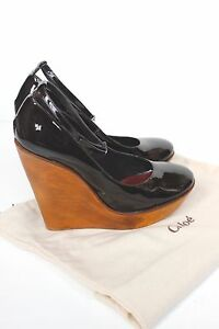 Wedges Platform Leather Mary Patent Chloé 38 5 Uk Jane Wooden Sqg75Y