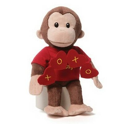 """RETIRED GUND - 10"""" CURIOUS GEORGE   -  HUGS AND KISSES HEARTS - NWT"""
