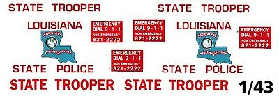 LOUISIANA State Trooper / Police 1/43rd Scale Slot Car Waterslide Decals