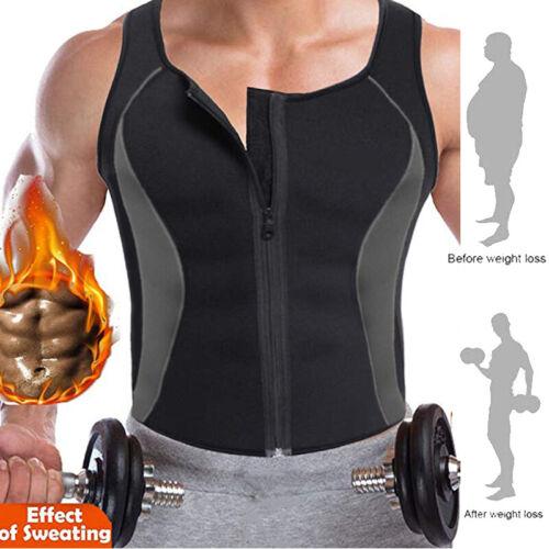 Men Zipper Neoprene Sauna Vest Ultra Sweat Shirt Body Shapers Slimming Tank Top